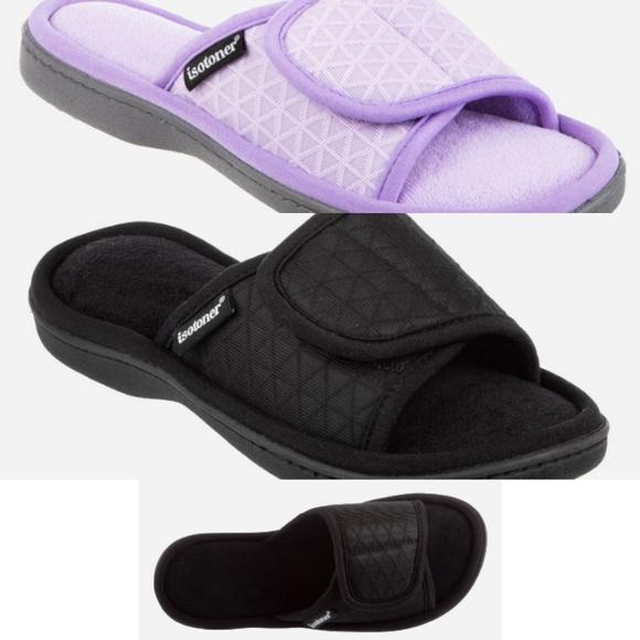 isotoner Shoes - Isotoner adjustable slides Mesh MIA black/purple.